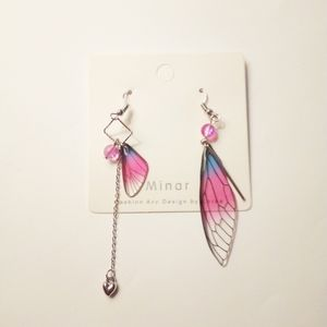 New Minar Pink Dragonfly Earrings